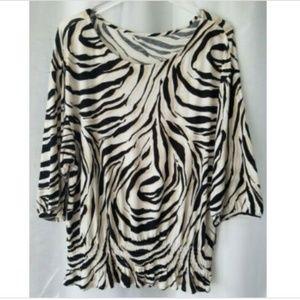 Ann Taylor Loft M black/white 3/4 sleeve shirt